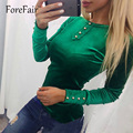 Fashion Velvet Tops 2017 Spring Women Long Sleeve O-Neck Button Top Female Bottoming T-Shirt Blue/Red/Pink/Green Sexy Slim Tops
