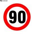 Tri Mishki WCS706 18*10 см Знак ограничения скорости 90 км / ч наклейки на авто ПВХ цветные стикеры на мотоцикл акссесуары наклейки