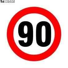 Tri mishki wcs751 16*16cm sinal de limite de velocidade 90 km/h etiqueta do carro pvc decalques coloful acessórios da motocicleta adesivo