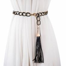fashion Double color belt metal Chain Stretchy Strap Elegant Waist match dress belts for women thin