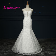 Elegant New Arrival  Wedding Dresses 2017 Modern Sexy Mermaid Backless Vestido De Noiva Beading Sleeveless Lace Robe de Mariee