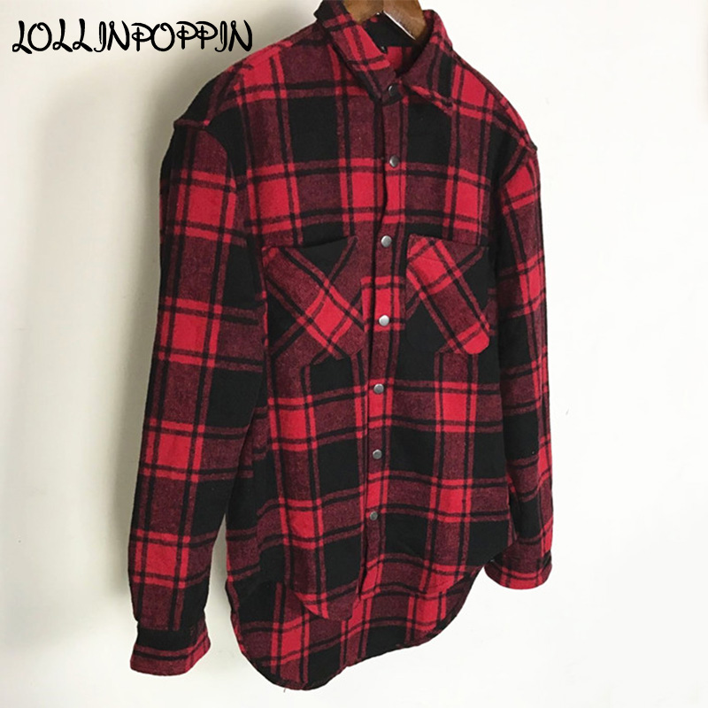Black And Red Checkered Shirt Men Thick Casual Shirts For Autumn & Winter Snap Buttons Asymmetric Round Bottom Male Plaid  Shirt Рубашка