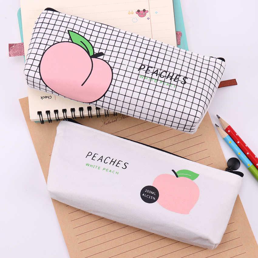 Новый холст фрукты персик пенал школьные пеналы для девочек канцелярские рулон карандашей сумка Estojo Escolar школьные принадлежности