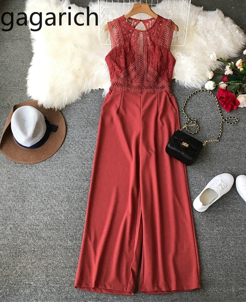 Gagarich Solid Pants Spring Summer Temperament O-neck Lace Stitching Dew Back Thin Jumpsuit Female High Waist Pants 2020