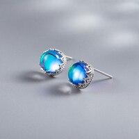 MosDream круглый голубой кристалл серьги стержня 100% s925 серебро волна кружева простые элегантные серьги для Для женщин Ювелирные изделия с драг...