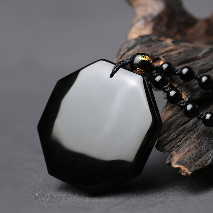 HTB1Aa HpuuSBuNjy1Xcq6AYjFXae Drop Shipping Black Obsidian Yin Yang Necklace Pendant Chinese BAGUA Men's Jewelry Women's Jewelry