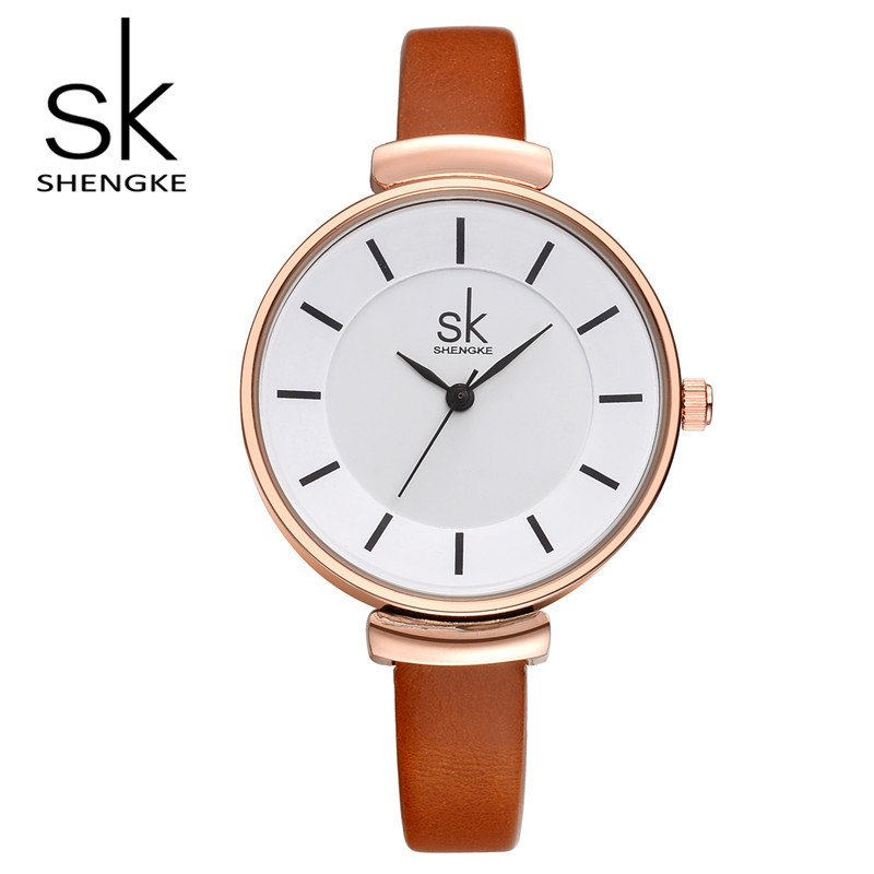 SK Brand Fashion Women Dress Watch Casual Leather Wrist Watches Ladies Quartz Watches Relogio Feminino S0010 2016 new fashion geneva women watch diamonds dress ladies casual quartz watch leather wrist women watches brand relogio feminino