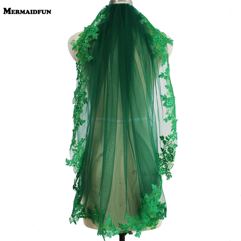 Real Pictures Green Lace Short Wedding Veil Beautiful One Layer Bridal Veil With Comb Muslim Arabic Voile De Mariee