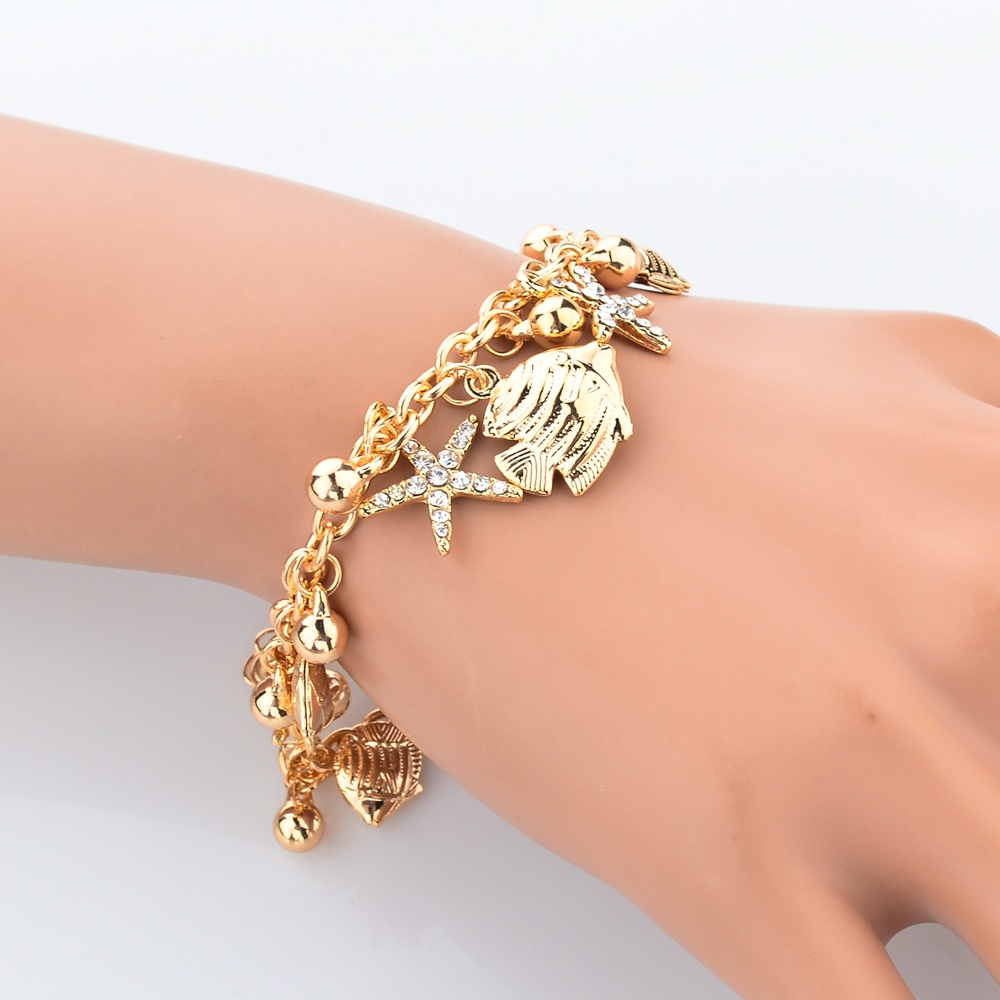 2019 Crystal Fancy Star Chain Link Trendy Bracelets For Women Jewelry European Design Gold Charm Bangles Sbr150176 In From