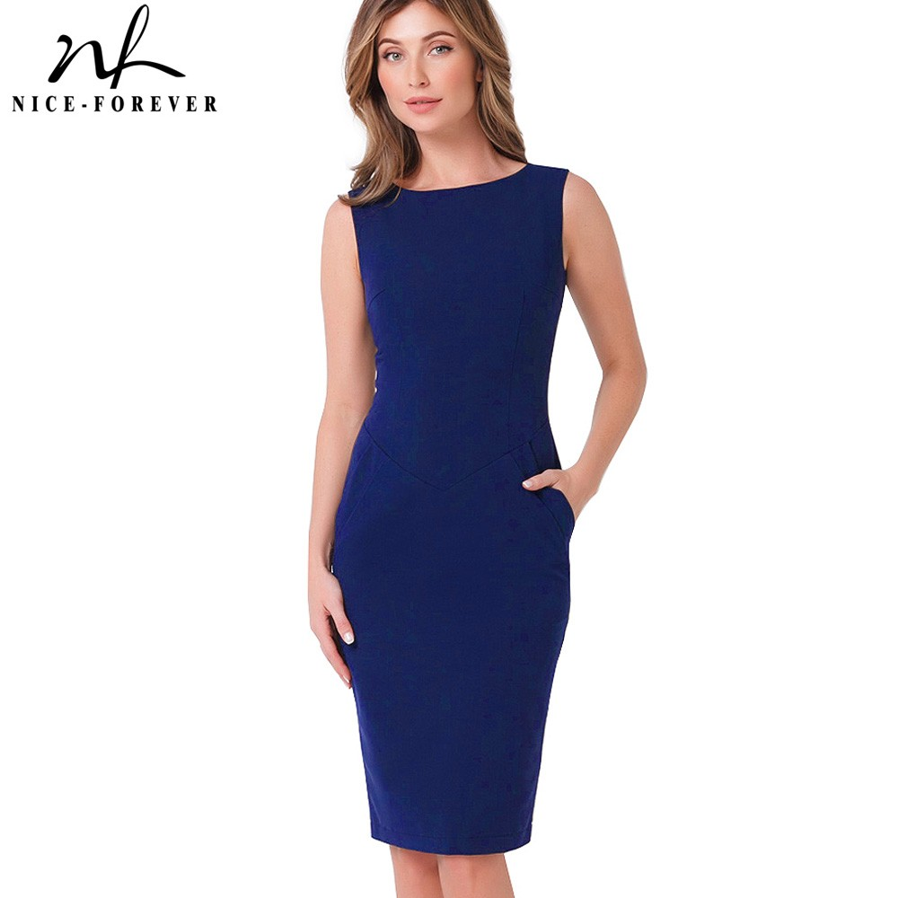 Nice-forever Vintage Pure Color Wear to Work Brief vestidos Business Bodycon with Pocket Sheath Women Office Elegant Dress B454