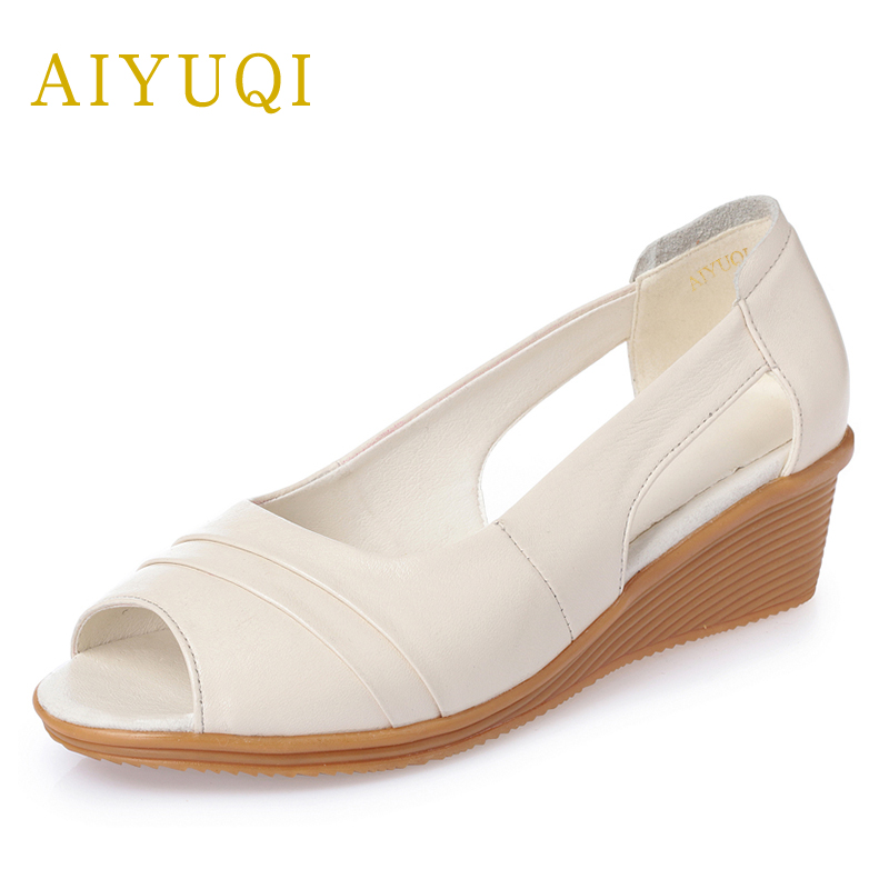 AIYUQI 2018new genuine leather women's sandals fish mouth slope shoes wedge hollow summer sandals plus size 41#42#43#shoes women aiyuqi 2018 spring new genuine leather women shoes shallow mouth casual shoes plus size 41 42 43 mother shoes female page 7