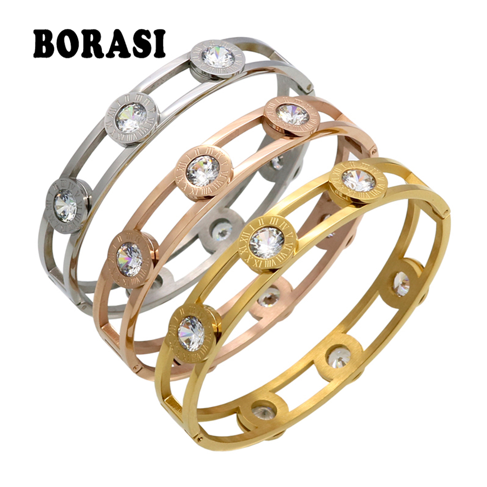 BORASI Moveable Crystal Cuff Bracelet Gold Color Bangle Stainless Steel