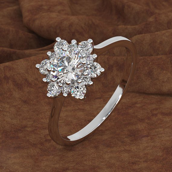 Luxury Female Snowflake Ring Fashion Yellow Rose Gold Color Crystal Zircon Stone Ring Vintage Wedding Rings For Women