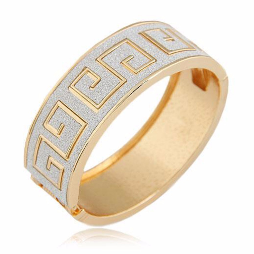 ΞGold Color Elegant Bracelet&Pendant Punk Pop Wide Scrub Geometry ...