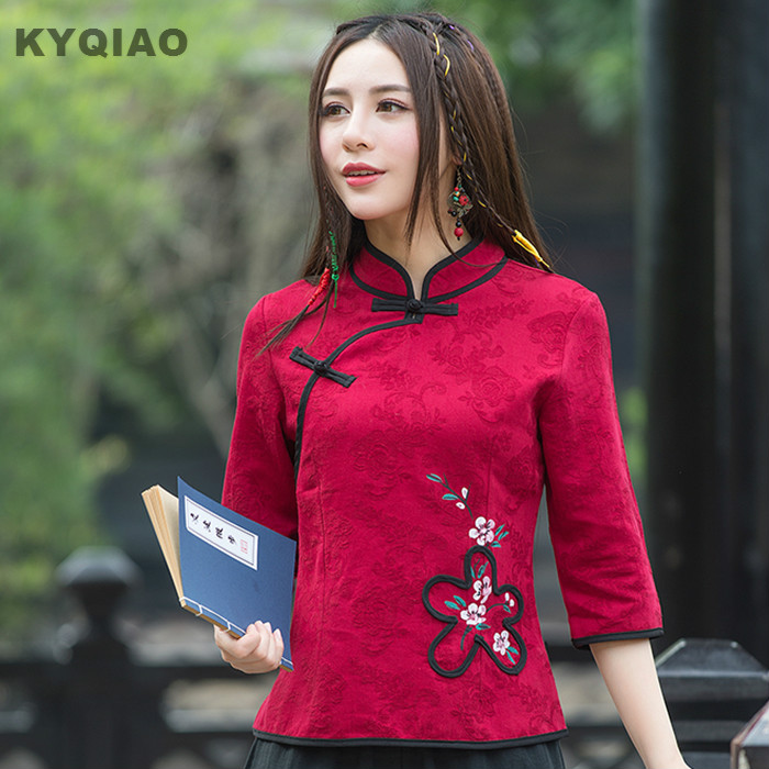 KYQIAO Traditional Chinese clothing 2018 women spring ethnic vintage three quarter sleeve red handmade <font><b>frog</b></font> red <font><b>blouse</b></font> shirt