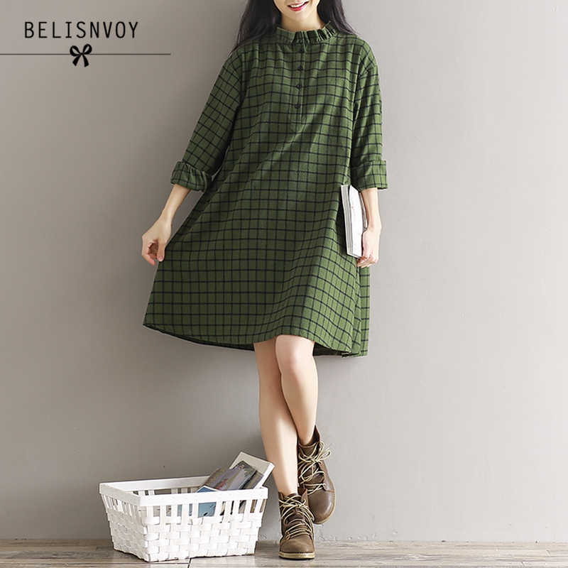 5b50717482b Detail Feedback Questions about 2018 Autumn New Women Plaid Cotton Dress  Vintage Literary Long Sleeve Single breasted Ruffles Plus Size Shirt Dress  Mori ...