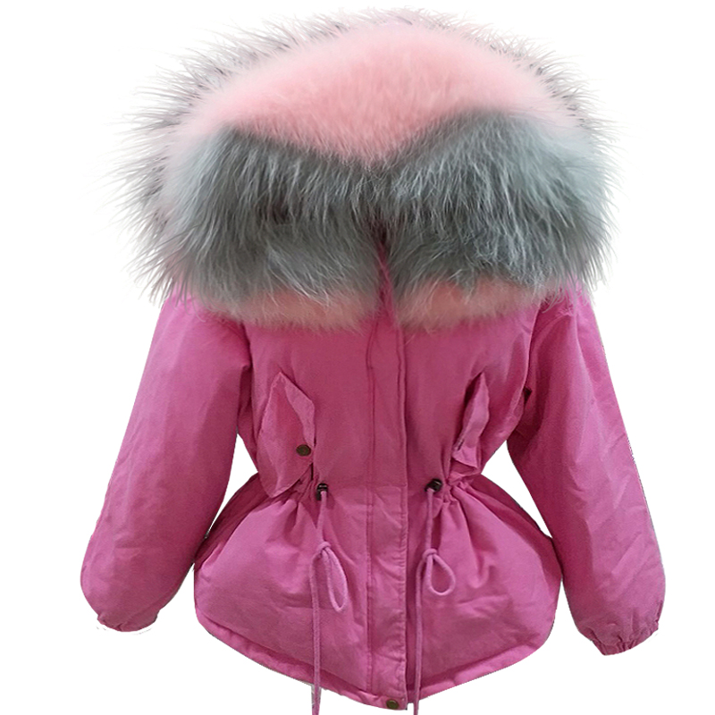 100% Large Real Fur Collar Hooded women's winter coat   parkas   mujer 2018 cotton long sleeve padded outerwear chaquetas mujer