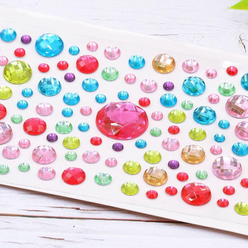 Heart-shaped diamond crystal stickers DIY handwork accessories decorative rhinestone sticker kindergarten kids girls toys gift 4