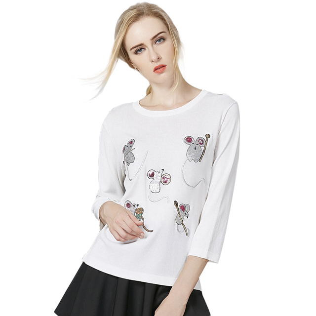 T Shirt Women Cotton skirts Autumn Short O-Neck White Knitting Tops T Shirt Women 2016 Slim Knitted Female Little Mouse t-shirt