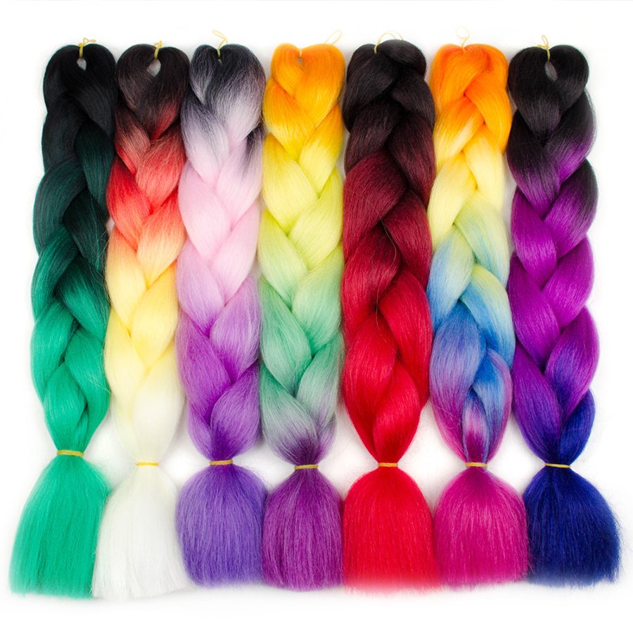 Aigemei 2 3 4 Ombre Braiding Hair Crochet Braids Rainbow Color Jumbo Braids KanekalonSynthetic Crochet Hair Extension 100g/Pack