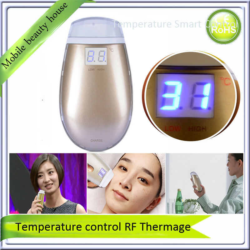 Inteligent Temperature Control LCD Display Mini Fractional RF Thermage Skin Lifting Beauty Wrinkle Remove Facial Toning Device free shipping mini portable anti aging dot matrix skin care rf fractional rf device ce 2015