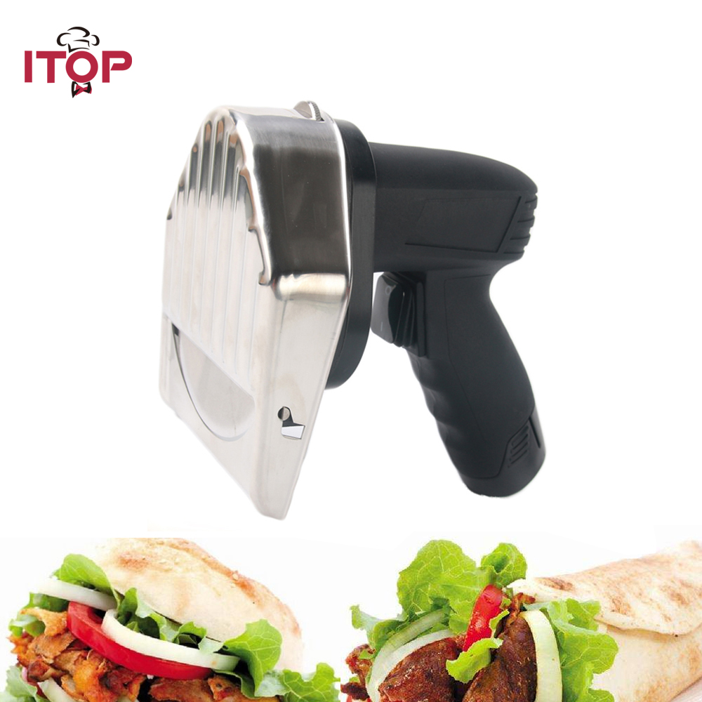 ITOP New Rechargeable Kebab Slicer Meat Cutting Machine For Shawarma Electric Gyros Cutter Kitchen Knives With 2 Blades 1pc hot sale 100%quality guaranteed doner kebab slicer two blades electrical kebab knife kebab shawarma gyros cutter