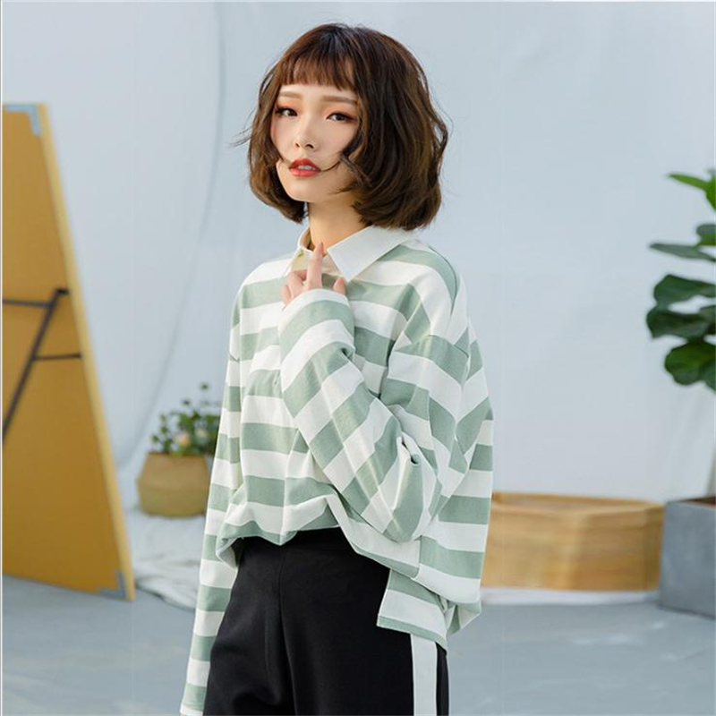 MERRY PRETTY 2018 Autumn Women Striped Long T Shirts Turndown Collar Long Sleeve Loose Tops Tees Casual Base T Shirt Femme
