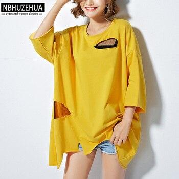 4XL 5XL 6XL Summer Harajuku Women Blouses Shirts Hippie Style Holes Lace  Patchwork Irregular Yellow Tops 1cdf0b737200