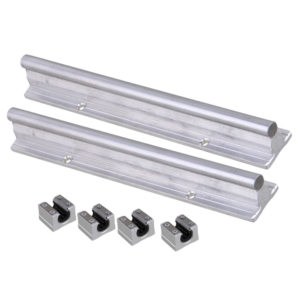 Silver Open Roller Bearing Slide Block & L200mm SBR10 Linear Bearing Rail Guide with 10mm Dia Shaft for CNC Machine Set of 6 silver open roller bearing slide block