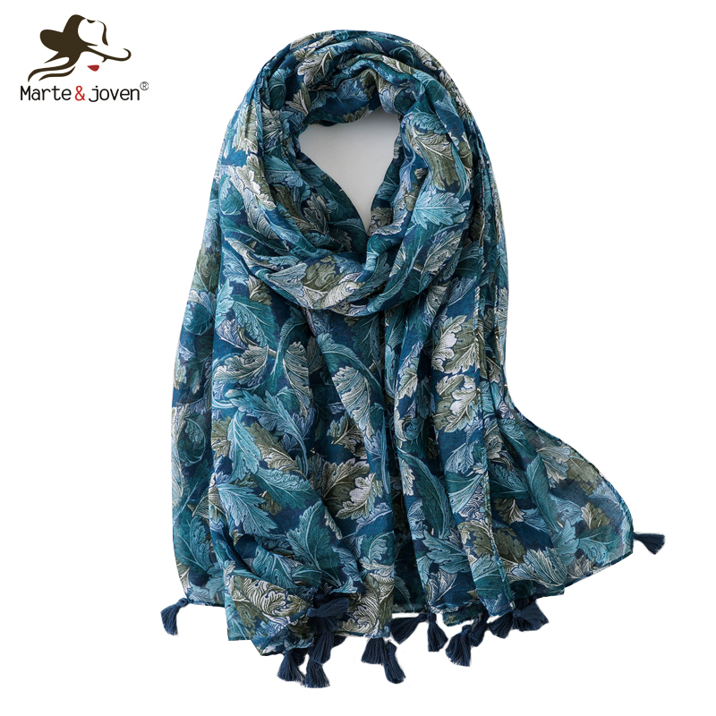 Dutiful Marte&joven Elegant Leaf Print Dark Blue Tassel Voile Scarf For Women Spring Autumn Soft Foulard Wrap Lady Novel (In) Design;