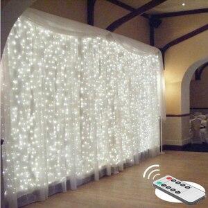Image 1 - 3x 3/6x3 LED Eiszapfen Fee String Licht Weihnachten LED Girlande Hochzeit Party Fairy Lichter fernbedienung vorhang Garten Terrasse Decor