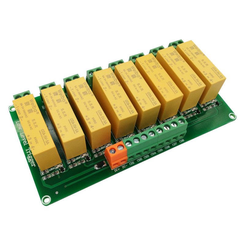 8 channel low level trigger DC control AC solid-state relay module 5V12V24V load 5A for PLC automation equipment control normally open single phase solid state relay ssr mgr 1 d48120 120a control dc ac 24 480v