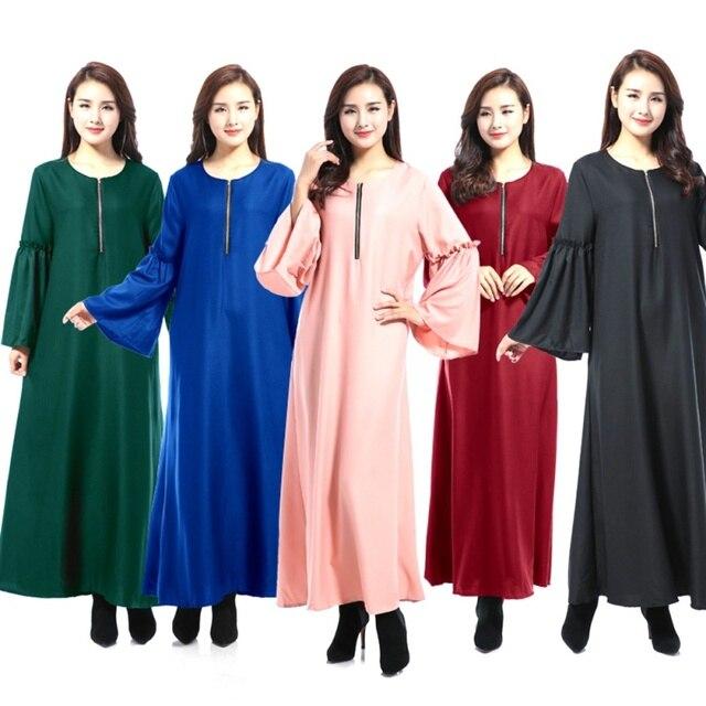 0675a225020a70 Muslim Long Sleeve Maxi Zipper Abaya Dress Solid Color Islamic Clothing  Elegant Moroccan Kaftan Robe Turkish O-neck Party Dress