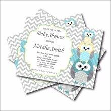 20 Pcs Lot Custom Blue Owl Boys Baby Shower Invitations Birthday Invites Party Decoration Supply