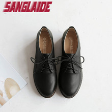 SANGLAIDE 2016 New Women'S Flats Casual Shoes Lace Up Women Genuine Leather Brogue Oxford Shoes Sapatos Femininos Sapatilha 42