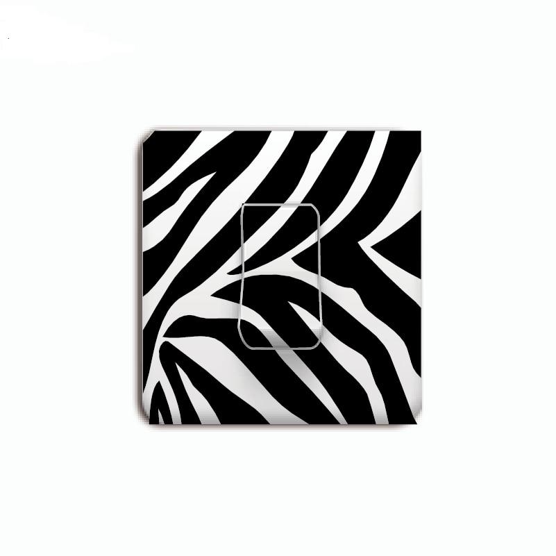 MA-44 Creative Zebra Print Pattern Light Switch Sticker Cartoon Animal Vinyl Wall Sticker Home Wallpaper