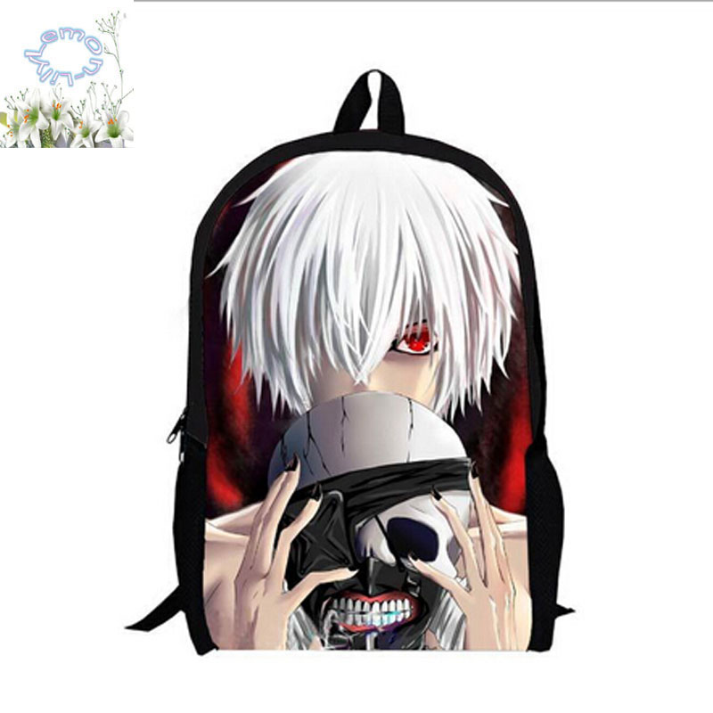16Inch Tokyo Ghoul Backpack Mochila Double Zipper Anime Backpack Girl Boy Schoolbag Mochila Escolar Free Shipping A126-A anime tokyo ghoul akira mado anime cosplay wig heat resistant fibre mado akira cos wig hair free wig cap free shipping