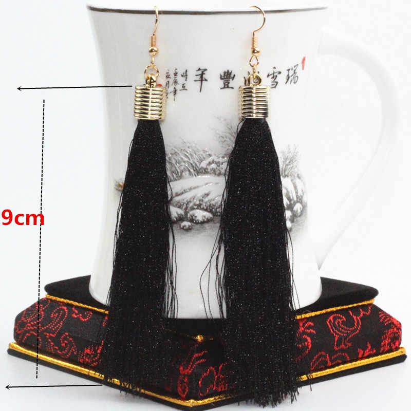 2017 New Hot Drop Earrings The Black red blue Tassel Vintage Long Tassel Earrings Hangs The Big Female Earrings