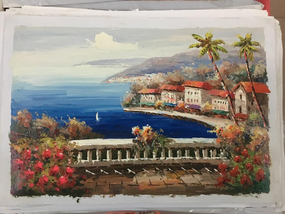 hechos a mano del cuchillo pintura al leo mar mediterrneo isla de la flor marino pintado