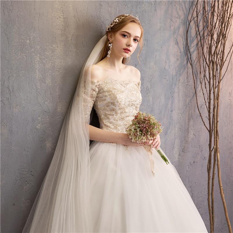 Fashion elegant Beautiful Ball Gown half Sleeves Wedding Dress 2019 Champagne florwer Bridal Marriage real photo