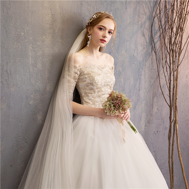 Fashion elegant Beautiful Ball Gown half Sleeves Wedding Dress 2019 Champagne florwer Bridal Marriage real photo 2-in Wedding Dresses from Weddings & Events    1