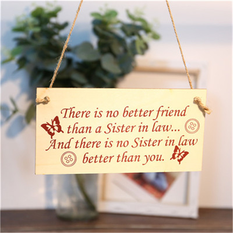 You/'re The Best Sister In Law Hanging Wooden Plaque Friendship Gift Sign Present