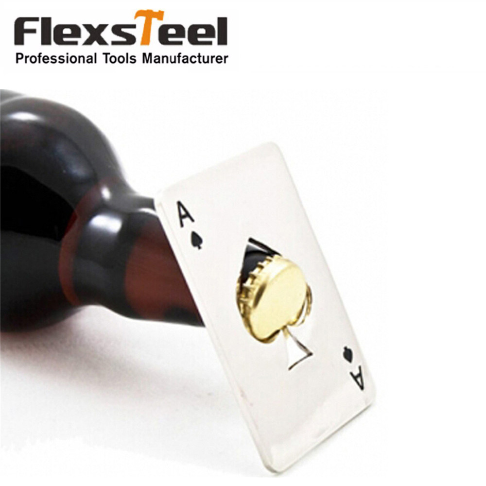1 pc Criativo Poker do Cassino Tamanho Cartão De Crédito De Aço Inoxidável Em Forma de Garrafa Abridor de Lata Abridor de Garrafa Abrebotellas Abrelatas