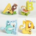26 Unids/lote El nuevo ABC 26 letras del alfabeto rompecabezas 3D del rompecabezas de los niños juguetes educativos juguetes de madera Montessori