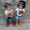 2016 Crianças Novas da rainha do rei Carta Boné de Beisebol Dos Meninos da Criança E meninas Ossos Snapback Hip Hop Chapéu Da Forma Plana 2 peças cada lote