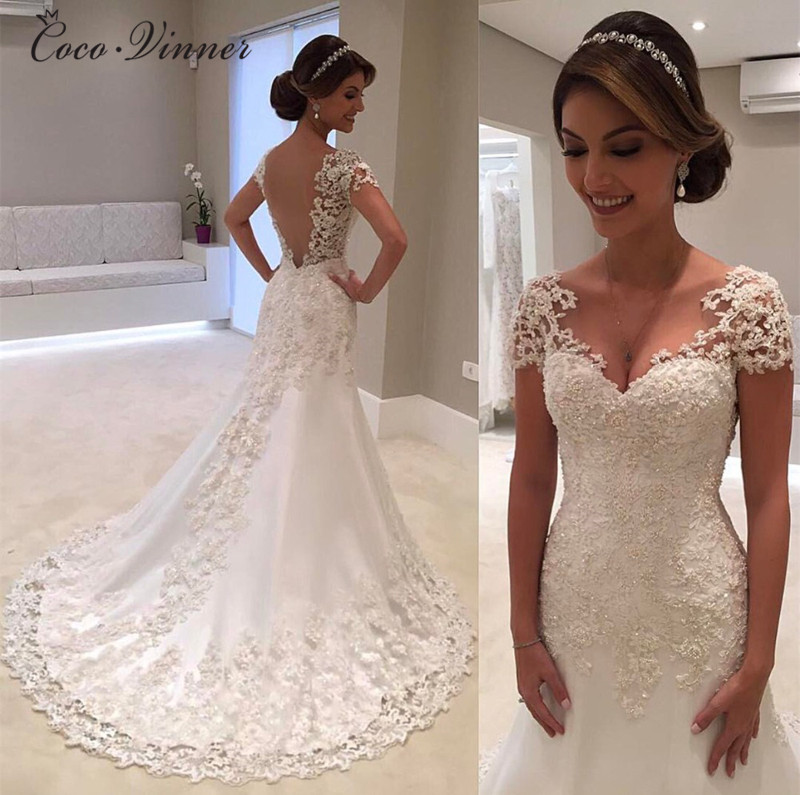 Illusion Vestido De Noiva White Backless Lace Mermaid Wedding Dresses 2019 Cap Sleeve Wedding Dress Vintage wedding Dress W0200