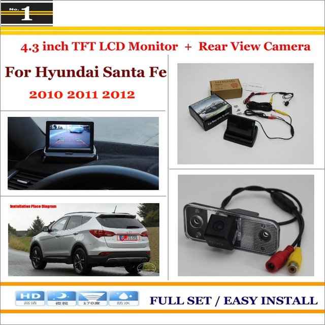 "No Carro 4.3 ""cor LCD Monitor + Car Rear Back Up Da Câmera = 2 em 1 Parque de Estacionamento Do Sistema-Para Hyundai Santa Fe 2010 2011 2012"