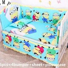 Акция! 6 шт. детская кроватка постельного белья Детские комплект кровати, включают(бамперы+ лист+ наволочка