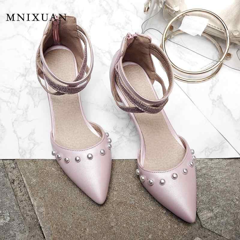 MNIXUAN หรูหรารองเท้าแตะผู้หญิงนักออกแบบ 2019 ฤดูร้อนใหม่แฟชั่นสุภาพสตรี Rhinestone ปิด toe รองเท้ารองเท้าส้นสูงขนาดใหญ่ 10 43 สีชมพู