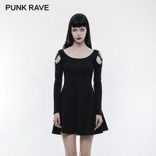 a1cb13c331 PUNK RAVE Punk zwięzłe bez ramiączek skórzany pasek z długim rękawem  szeroki szyi szczupła sukienka kobiety czarny wygodny mecz .